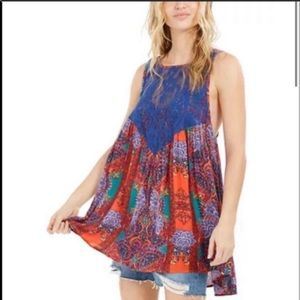 Free People count me in trapeze mini dress blue S